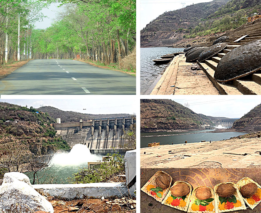 Driving to Shri Shailam Hills and a grand view of holy river, Krishna