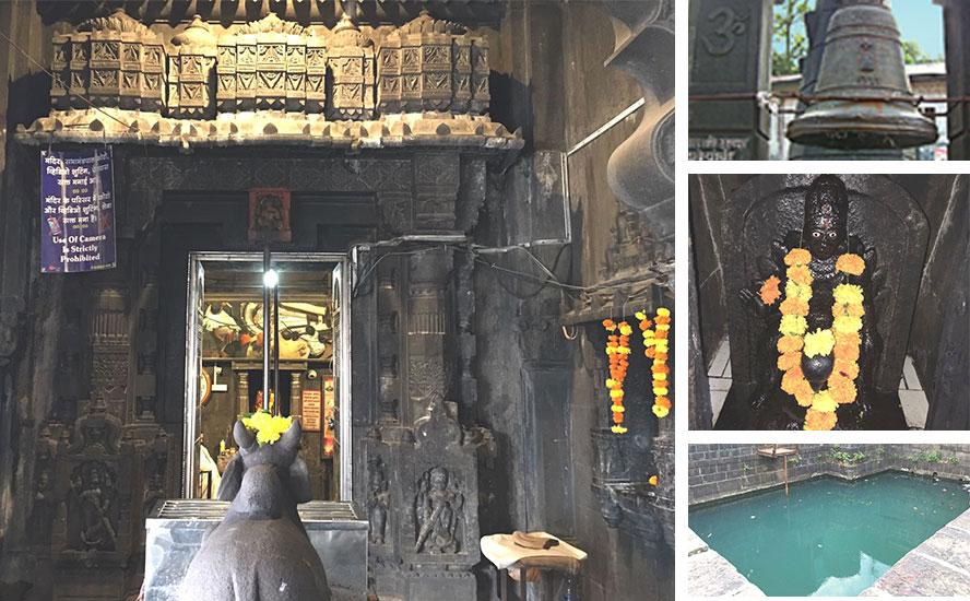 Shri Nandi in the temple, Shani temple, Big Bell and the Moksha Kunda.