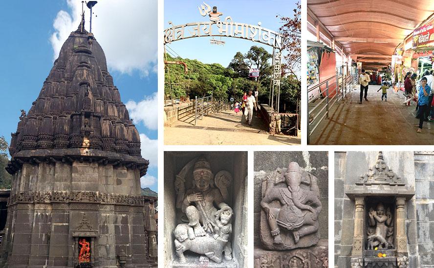 Shri Bhimashankar Dham entrance and incredible idol sculptures on the temple walls